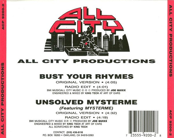 All City Productions - Bust Your Rhymes Unsolved Mysterme (Back)