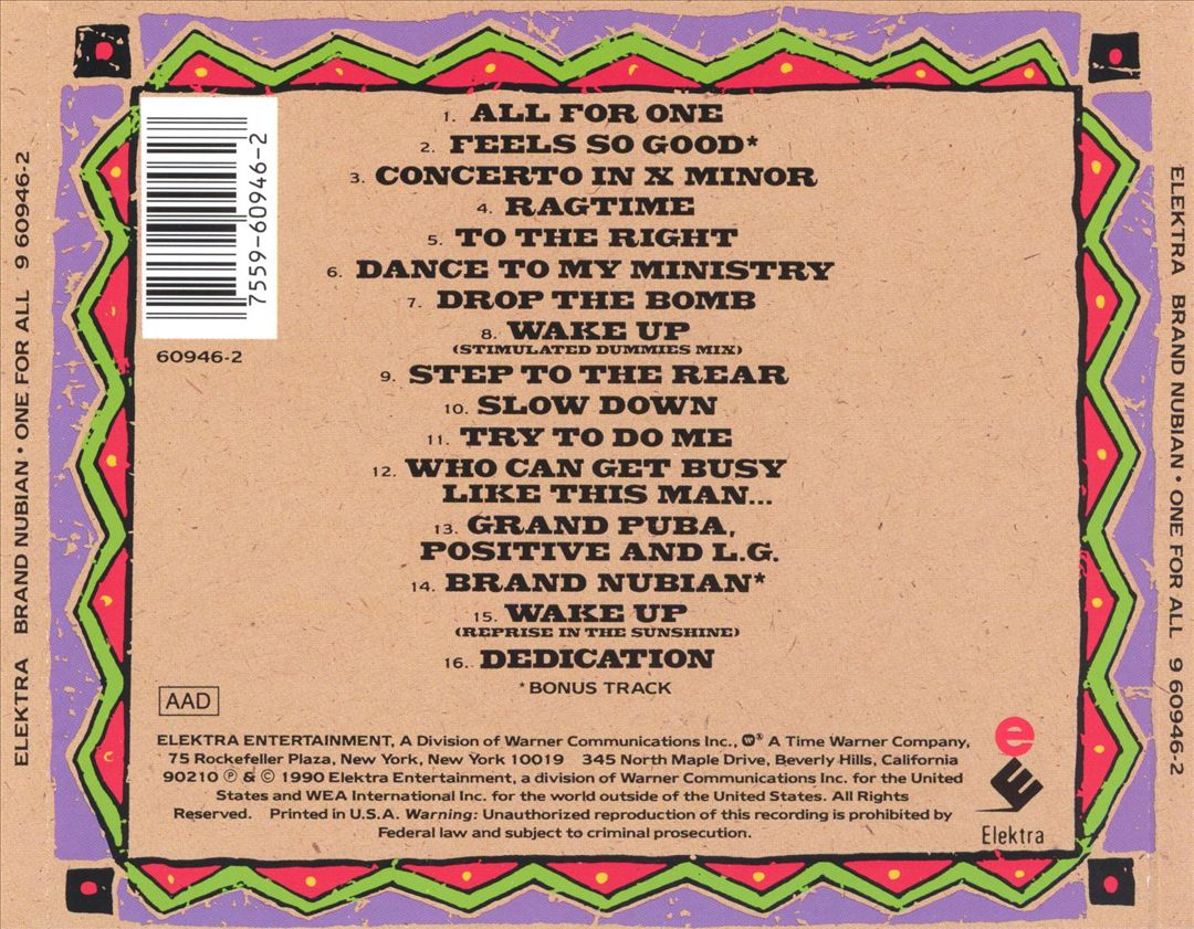 Brand Nubian - One For All (Back)