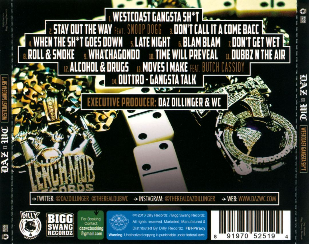 Daz Dillinger & WC - Westcoast Gangsta Sht (Back)