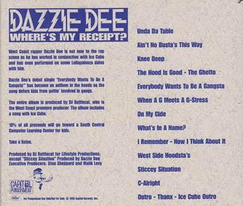 Dazzie Dee - Where's My Receipt (Back)