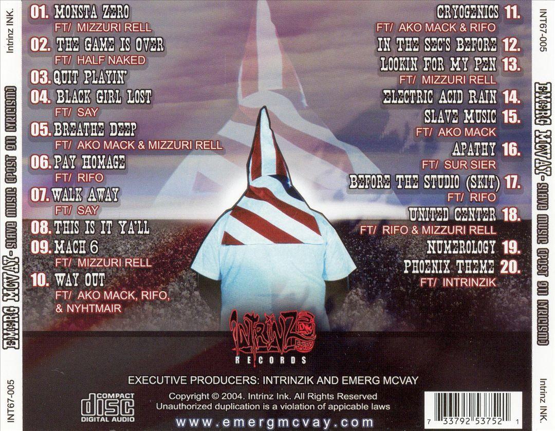 Emerg McVay - Slave Music (Post 911 Lyricism) [Back]