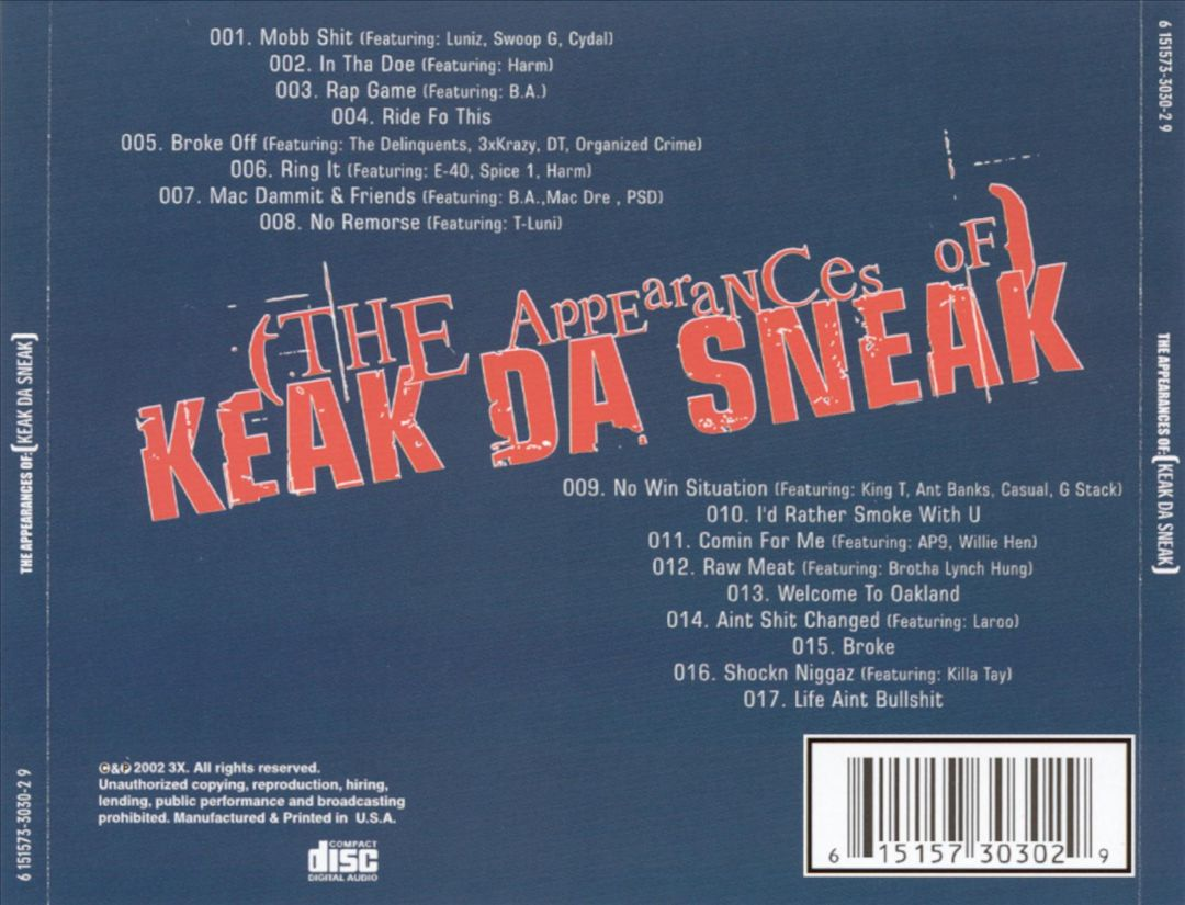 Keak Da Sneak - The Appearances Of (Back)