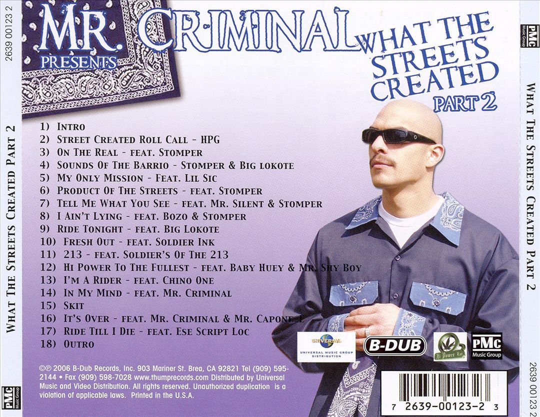 Mr. Criminal - What The Streets Created Part 2 (Back)