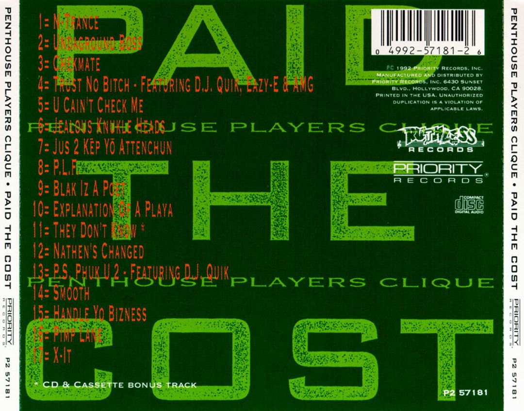 Penthouse Players Clique - Paid The Cost (Back)
