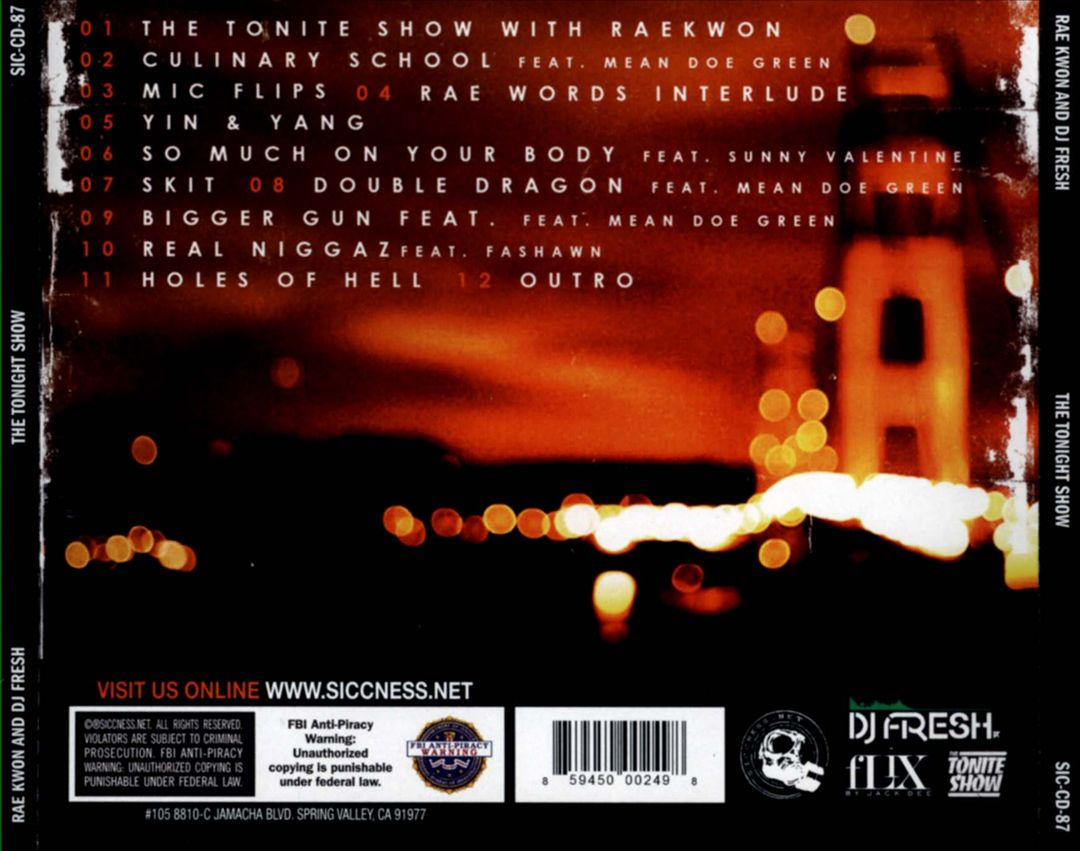 Raekwon & DJ Fresh - The Tonite Show (Back)