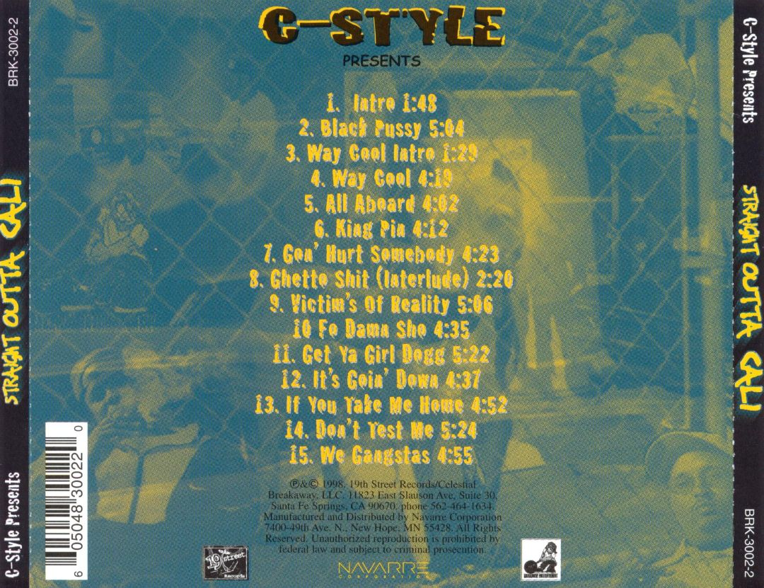 Various - C-Style Presents Straight Outta Cali (Back)